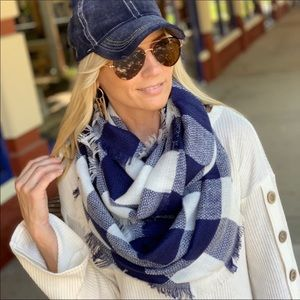 Navy Buffalo Plaid Infinity Scarf Super Soft